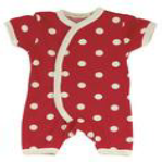 Red Romper Suit with White Spots made by Organics for Kids
